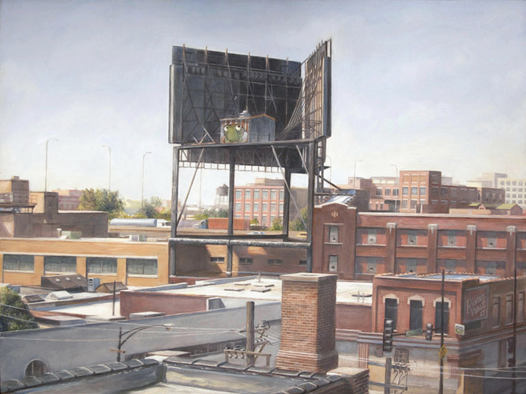 View toward Wrigley Billboard    from Mendell Street Studio   2012-13  Oil on panel  11.5 x 15.25 inches