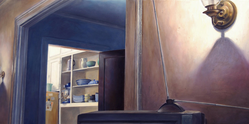 View into the Kitchen from the    Living Room   2011  Oil on canvas  27.5 x 48 inches