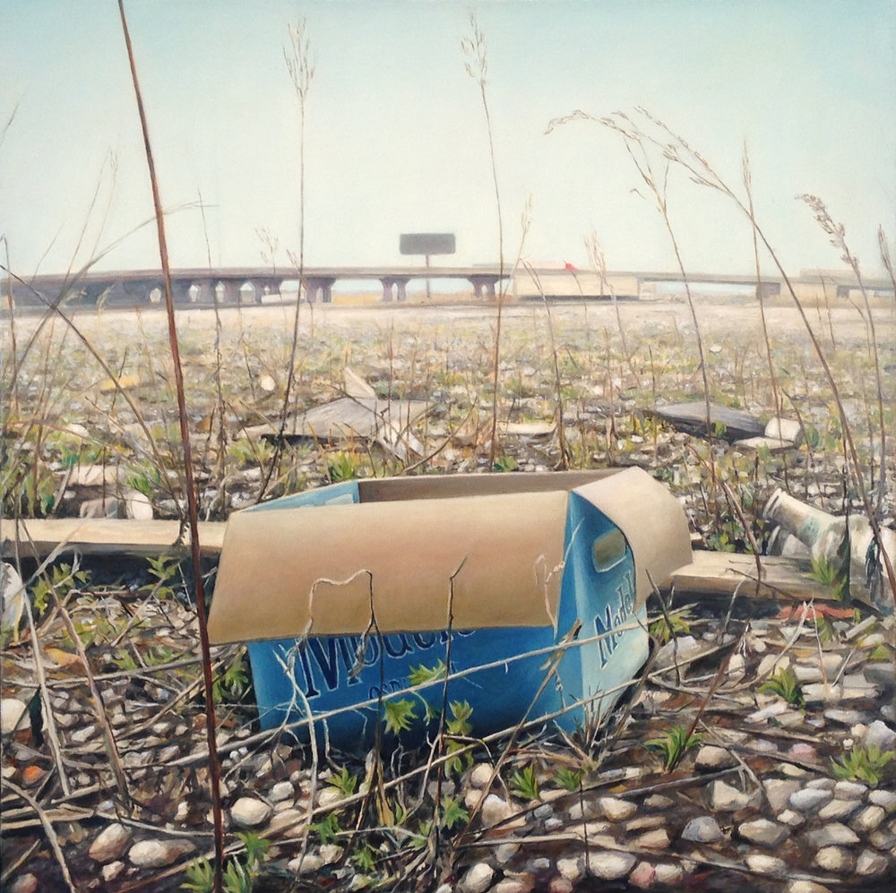 Beer Case in Empty Lot    Near Expressway   2011  Oil on canvas  20 x 20 inches