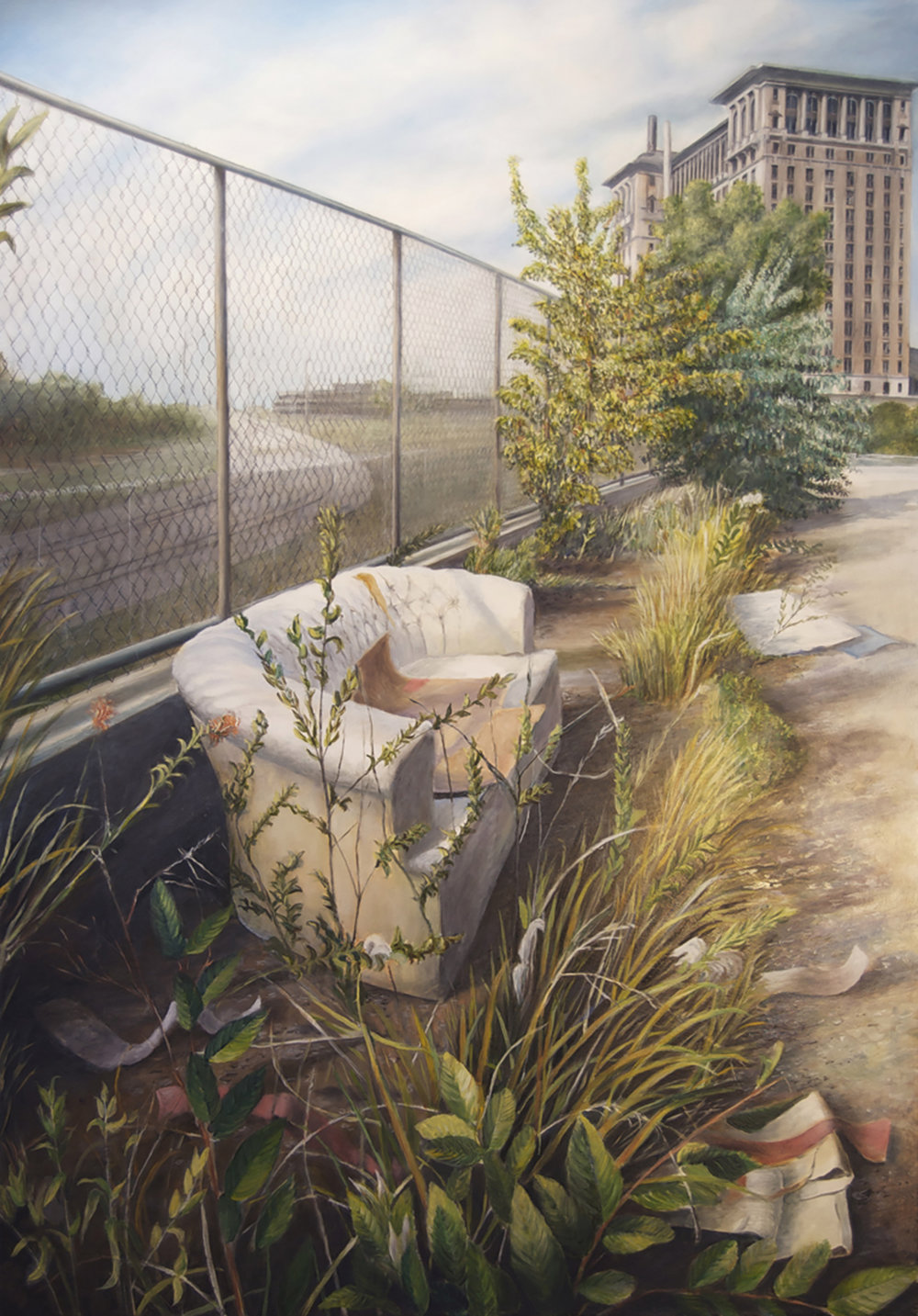 Couch and Garbage near    Michigan Terminal, Detroit   2011  Oil on canvas  42 x 28 inches
