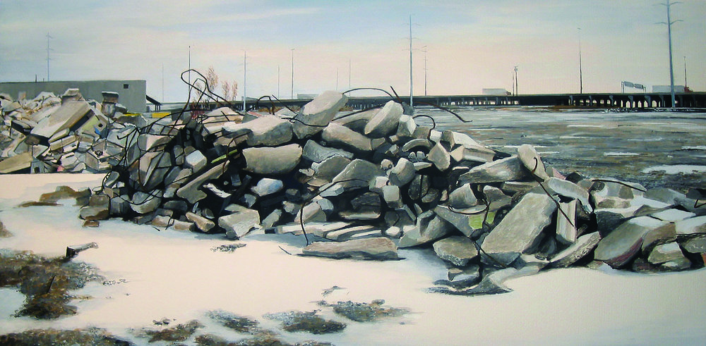 Rubble in Empty Lot near    Stevenson Expressway   2007  Gouache on paper  13.5 x 27 inches