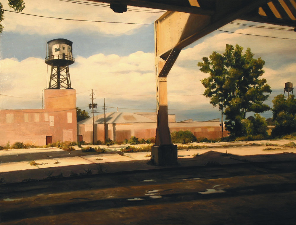 Under Green Line near    Damen Avenue, Chicago   2007  Oil on panel  18 x 24 inches