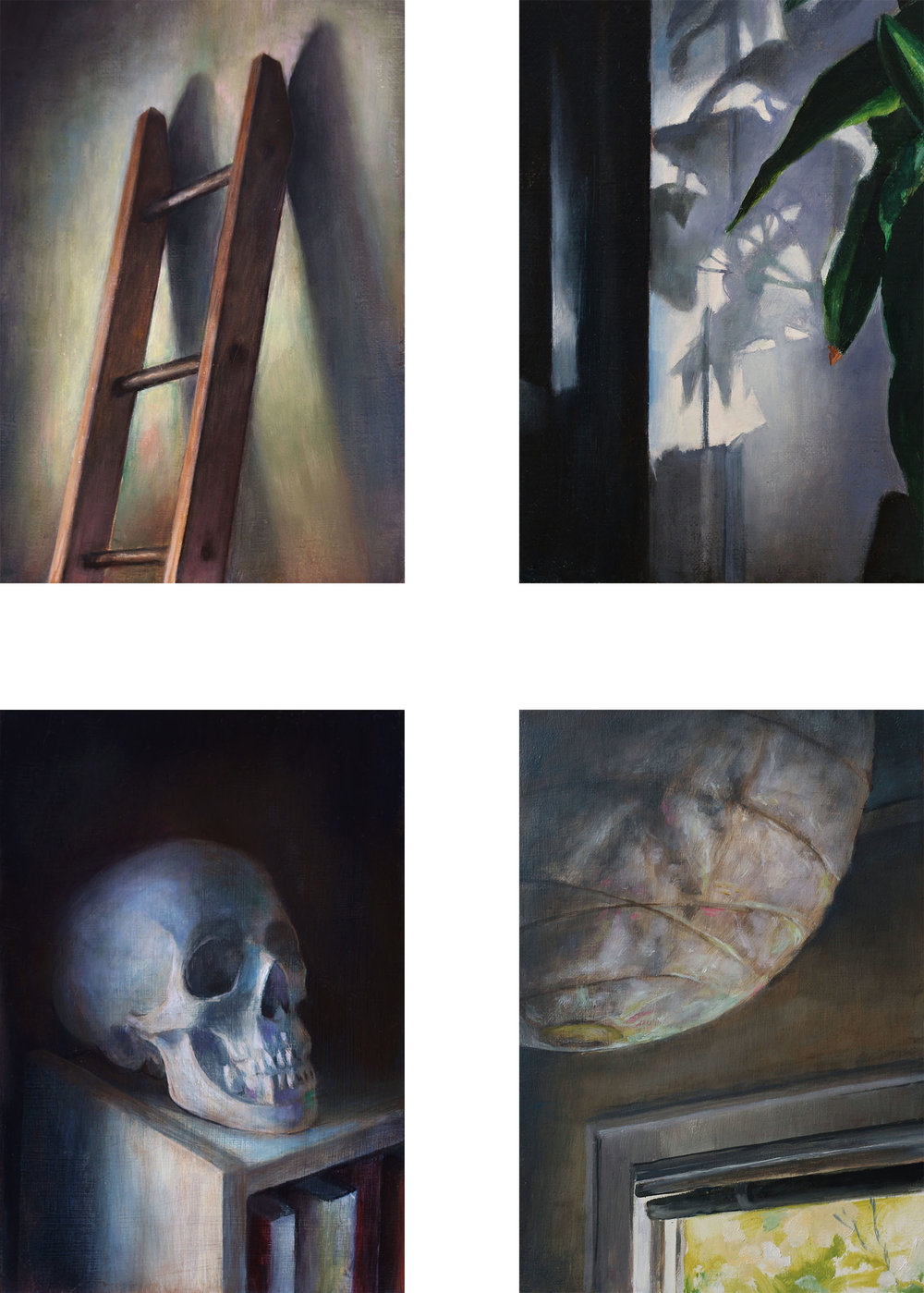 Contemplation   (Set of four paintings)  2017  Oil on linen  7 x 5 inches (each)