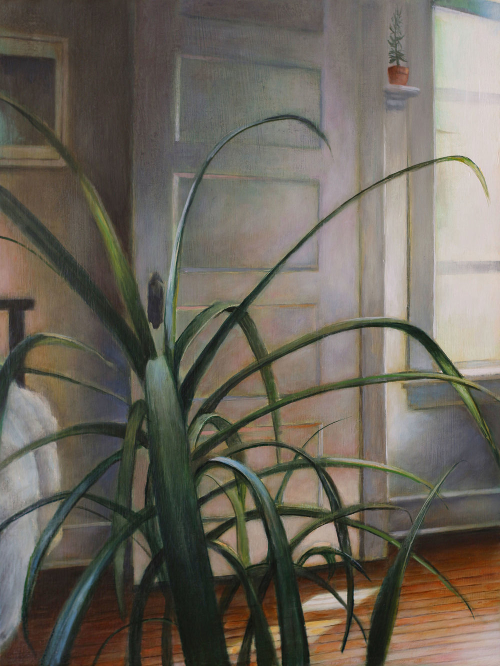 Plant in Front   2017  Oil on linen  12 x 9 inches