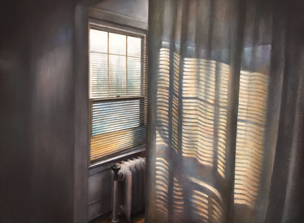 Sunroom Curtain   2017  Oil on linen  12 x 16 inches