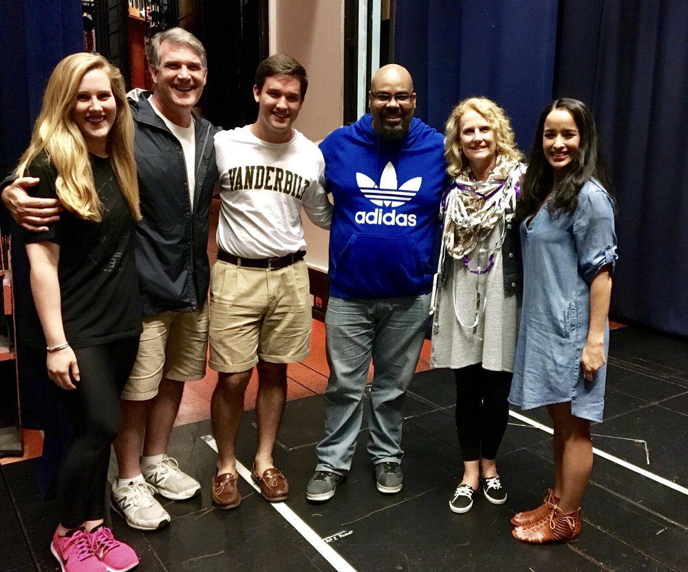 My family meeting James Monroe Iglehart (the genie) and courtney reed (Princess Jasmine) backstage at aladdin for the first time. June 2016.