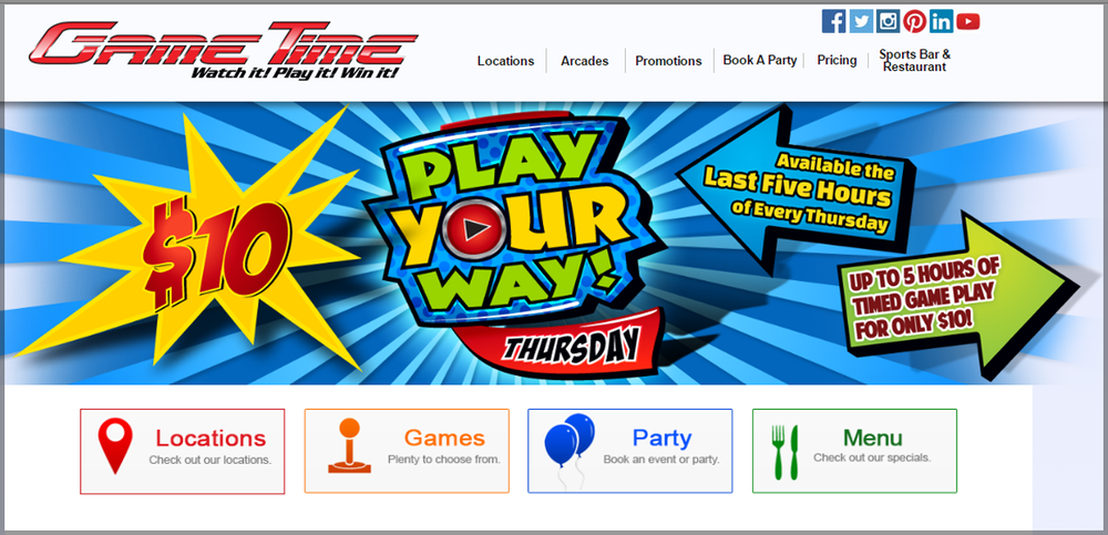 Corporate / Franchise website design:GameTime Arcades