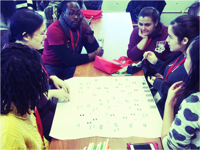 High school and college students completing a Community Asset Map with Freedom House, a college access and success nonprofit located in Boston, MA.