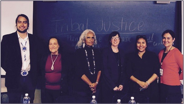 Jordan (second from the right) serving on a panel for Tribal Justice, a documentary film highlighting the utilization of restorative justice in tribal communities