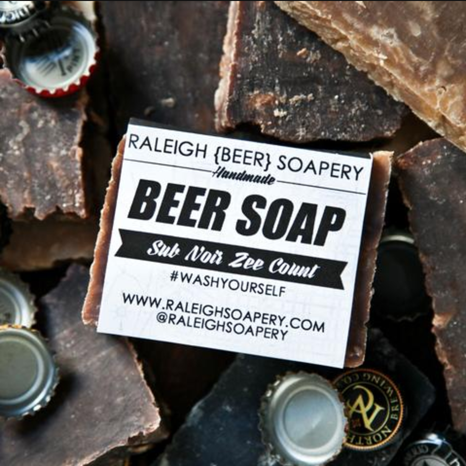 Raleigh { BEER } Soapery  #WASHYOURSELF WITH RALEIGH { BEER } SOAPERY'S ARTISAN, SMALL BATCH BEER SOAP. R{B}S USES THE FINEST NORTH CAROLINA CRAFT BEERS AND NATURAL INGREDIENTS TO HANDCRAFT BADASS SOAP FOR BADASS PEOPLE.