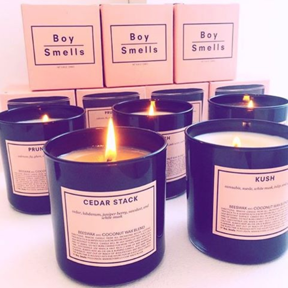 Boy Smells are the creations of David Kien and Matthew Herman. Started as a scent experiment, and later developed as a product, both pooled their experiences in design and production worlds of fashion and applied them to a home fragrance collection. Established in 2014. Hand poured in their Los Angeles Pico–Union studio, Boy Smells candles are a proprietary blend of beeswax and coconut oil; beautiful and rich–burning. Each scent has been developed to have its own unique expression; notes plucked from a personal catalog of olfactory memories, then evolved and re–expressed in a modern context. Both familiar and unexpected.