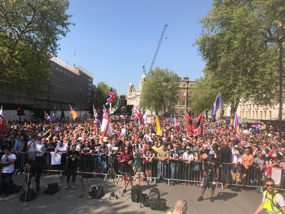 "A massive crowd gathers to hear Tommy Robinson speak at ""A Day For Freedom"" Event in Whitehall London."