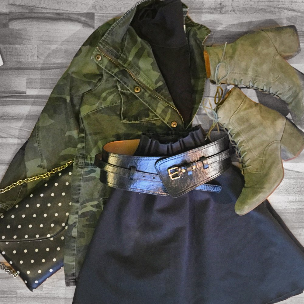 Camo jacket ( Stitch Fix ), Black turtleneck ( Uniqlo ), Corset belt ( Asos ), Green skirt (Zara - similar  here  and  here ), Green lace-up boots ( Franco Sarto ), Polka-dot purse (J. Crew -  similar here )