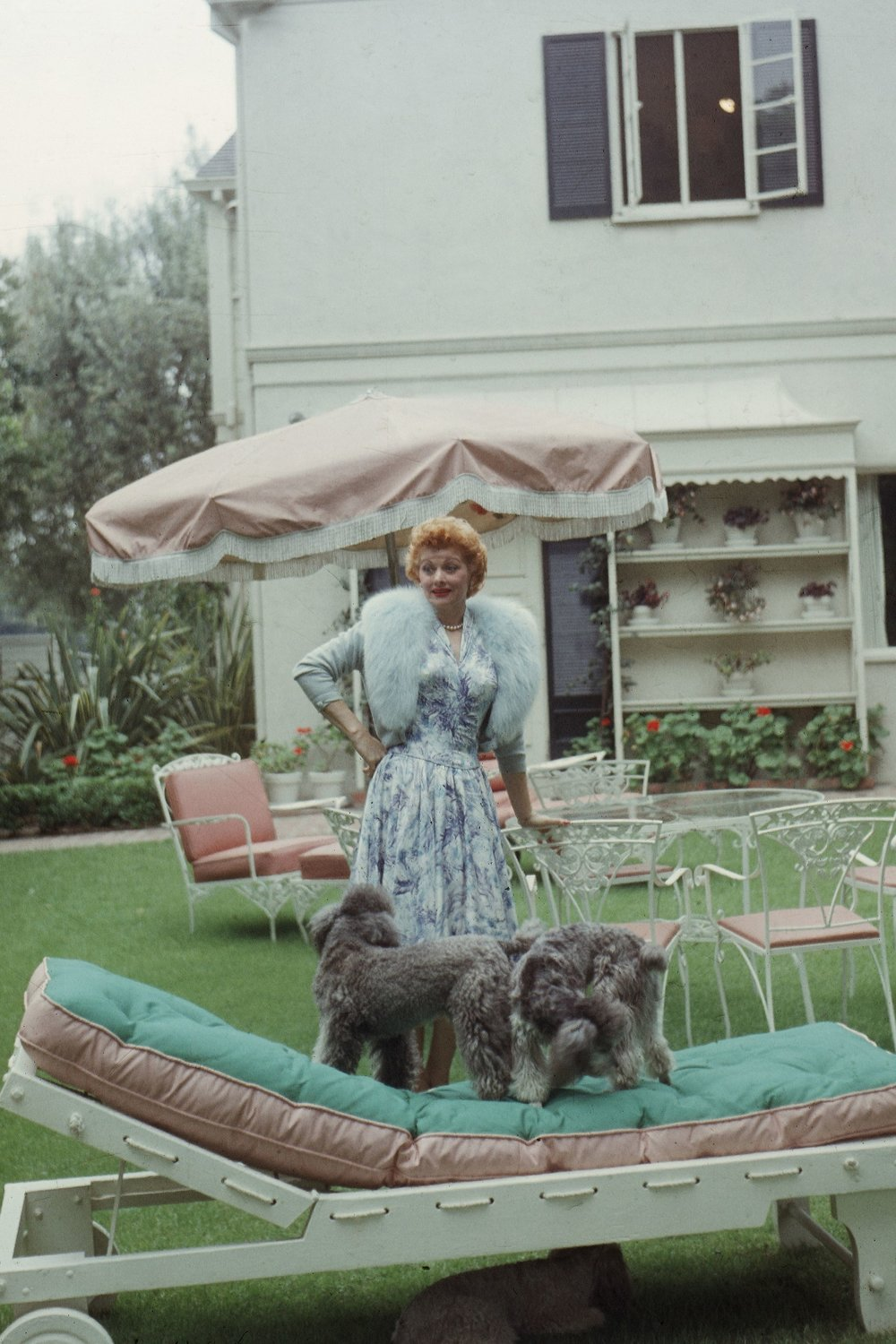 At home with her two poodles in 1957. (Where can I find that jacket?) Photo: Getty Images