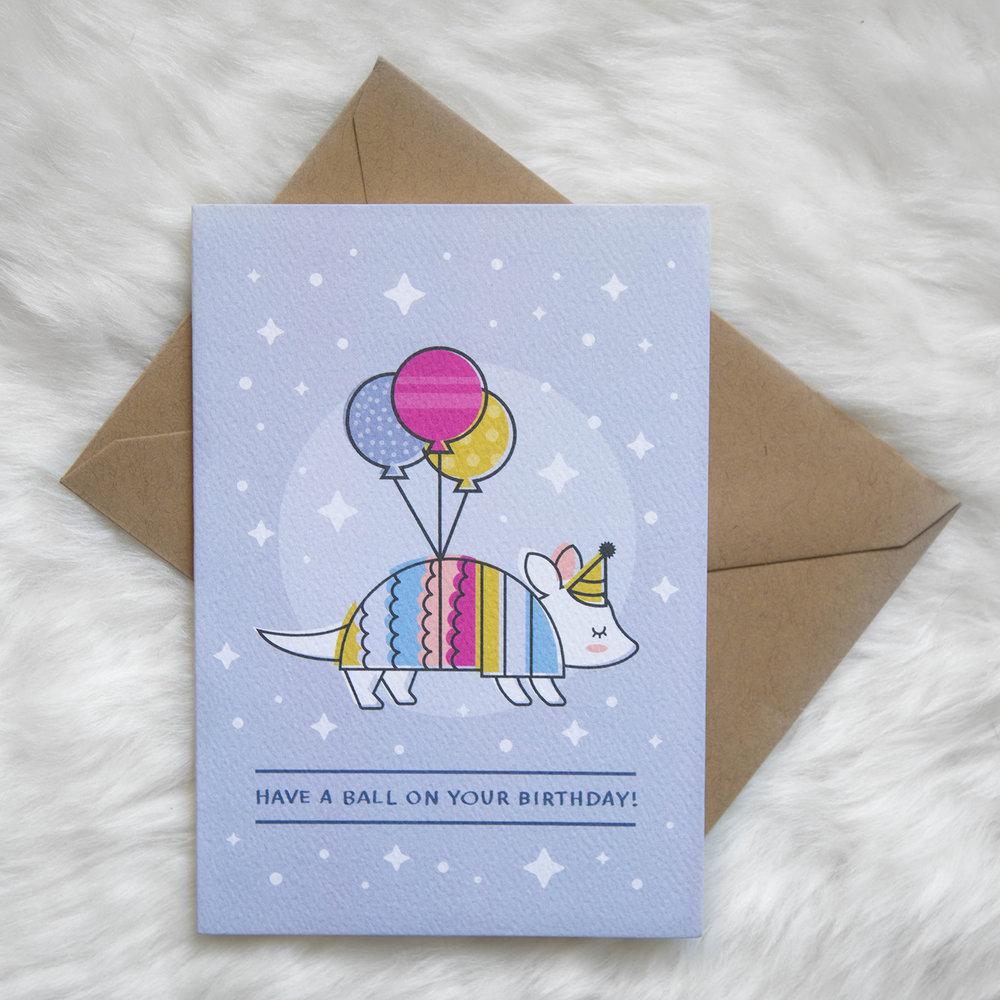 Have A Ball Birthday Armadillo Greeting Card Tiny Treehouse Co