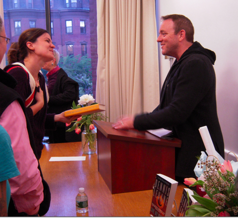 Dennis Lehane and fans at the South End Library