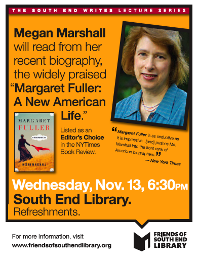 Megan Marshall Will Read for South End Writes November 13
