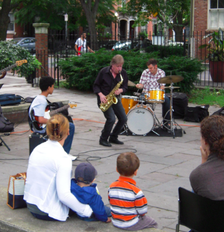 Pat Loomis and the Band in Library Park, Summer 2013