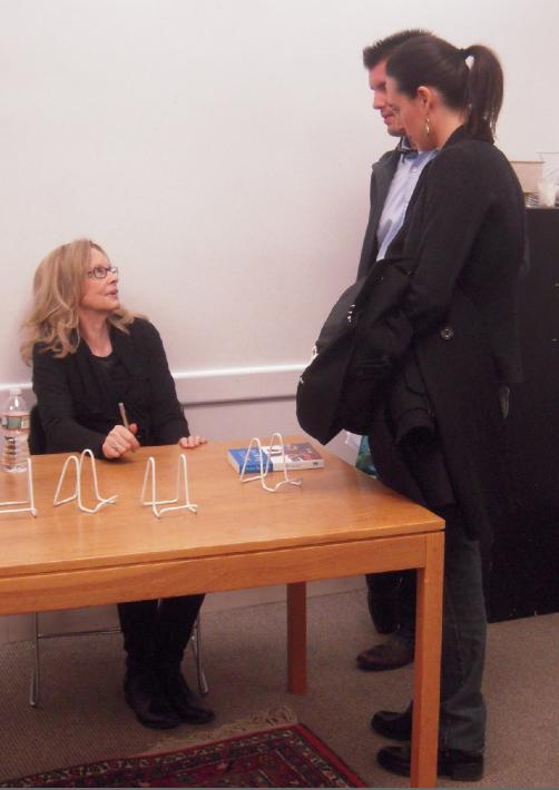 Anita Shreve talking with previous SE library speaker, Sara DiVello