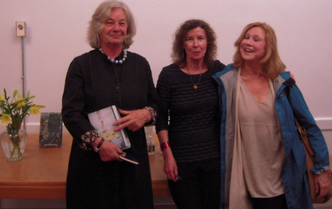 """From left to right: Marleen Nienhuis, founding president of FOSEL; author Margot Livesey (""""The Flight of Gemma Hardy""""); and novelist Sue Miller (""""The Arsonist"""")"""