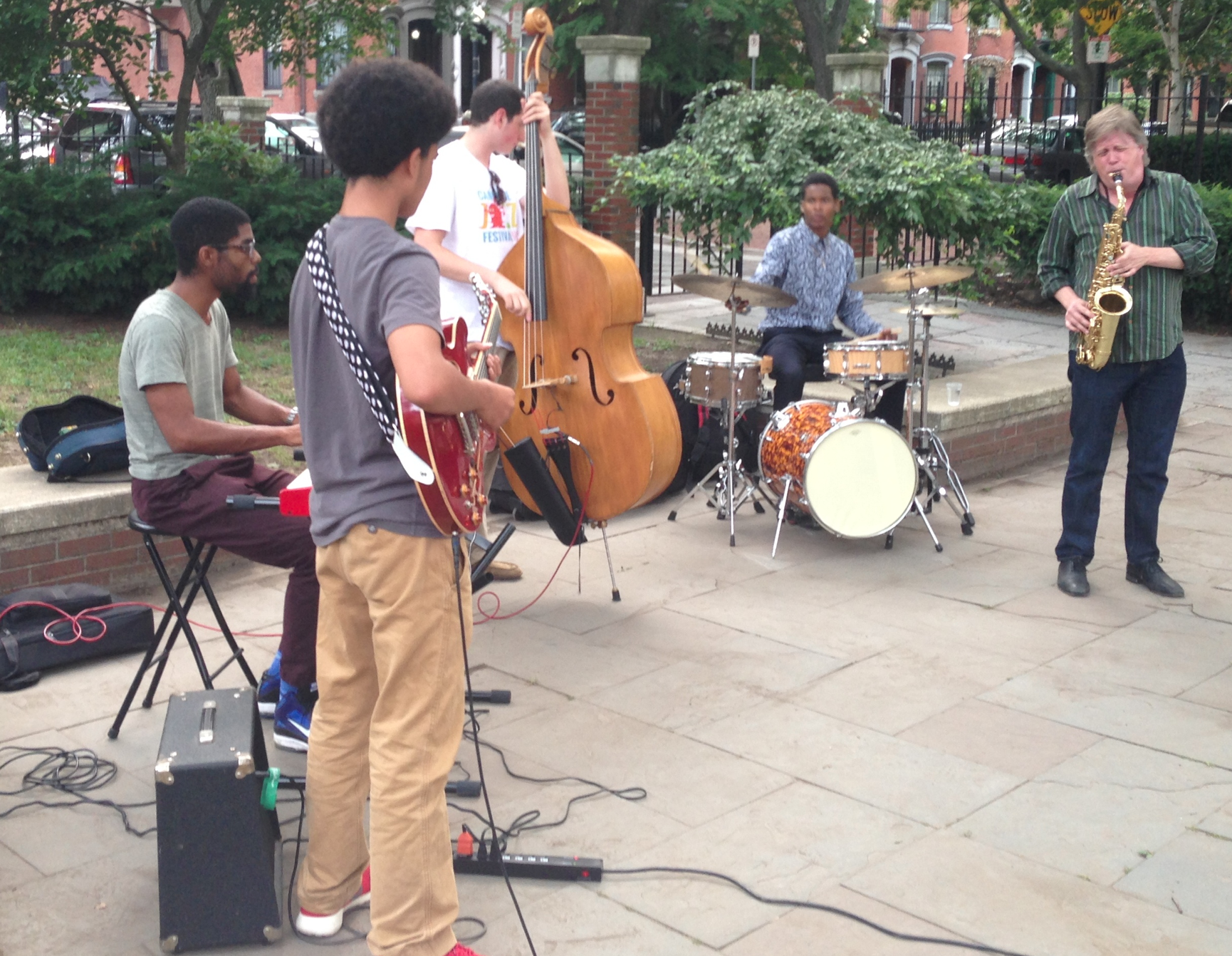 Pat Loomis and Friends playing in Library Park, July 29, 2014. Photo courtesy of Ed Allan