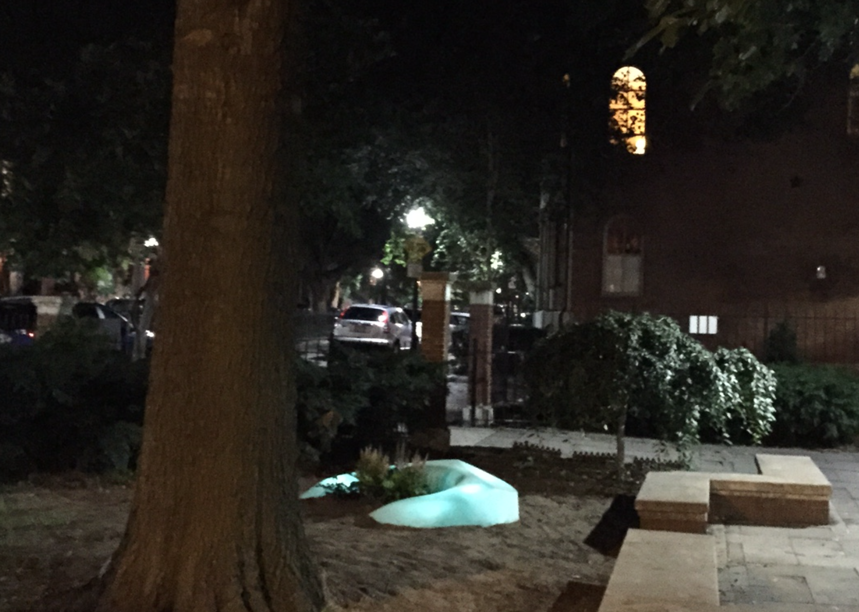 One of the two Laboy LightWells installed this weekend in Library Park
