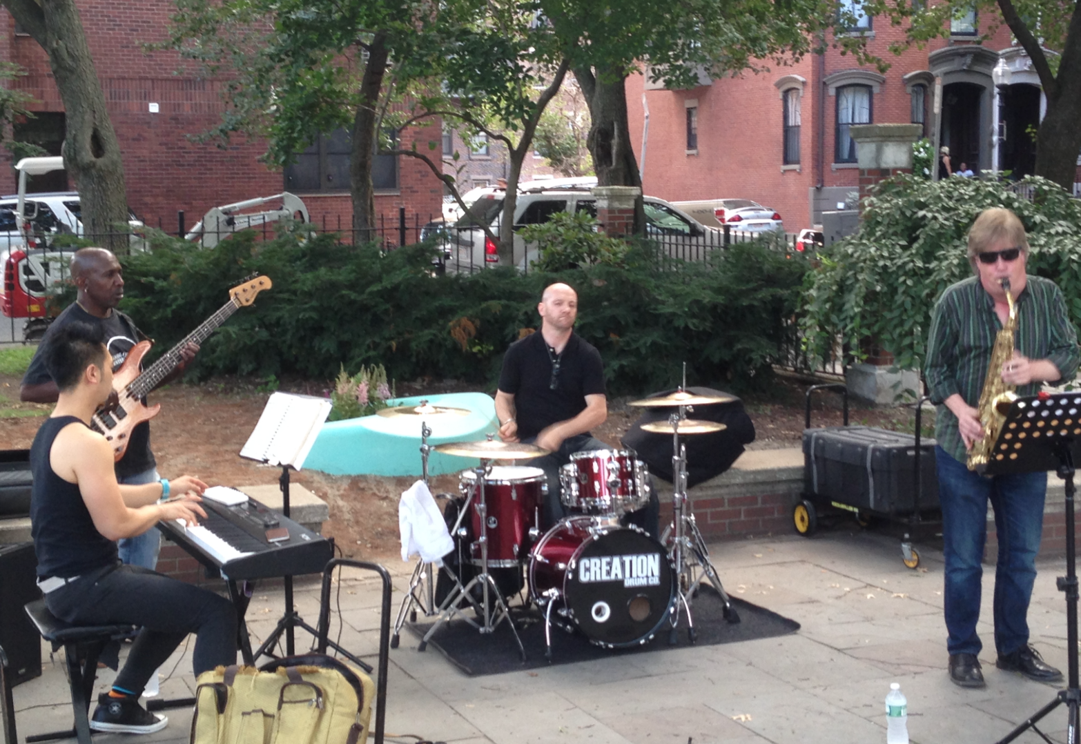 Pst Loomis and his friends playing the first concert in Library Park this summer in July 2015