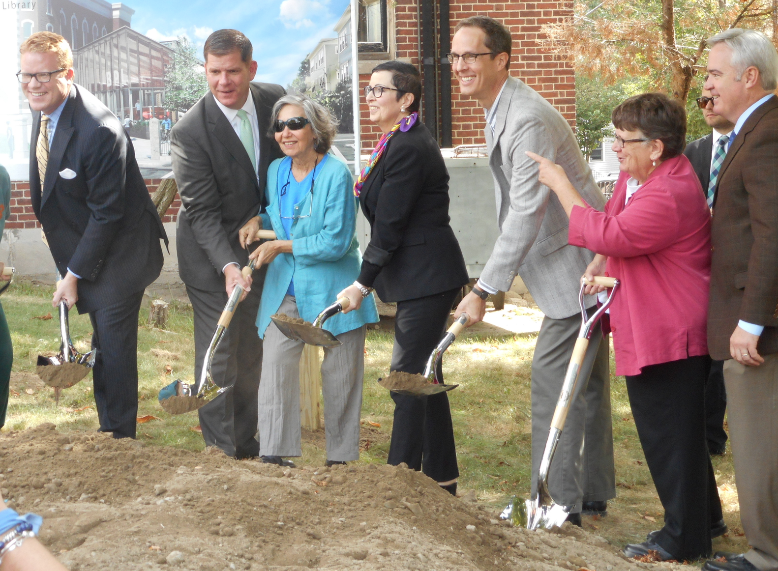 A new library for Jamaica Plain: District 6 City Councilor Matt O'Malley, Mayor Marty Walsh, JP Friends Co-chair Don Haber, State Rep Liz Malia and At-large City Councilor Michael Flaherty
