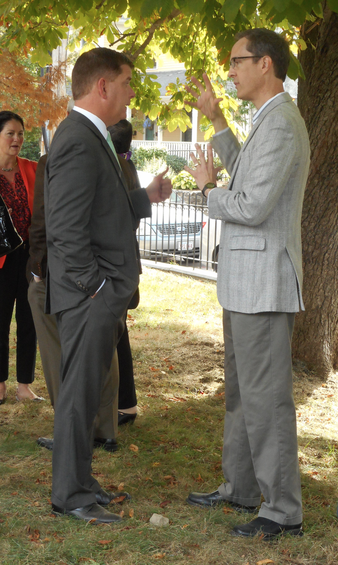 A library advocate's work is never done: JP Friends' co-chair Don Haber in discussion with Mayor Marty Walsh