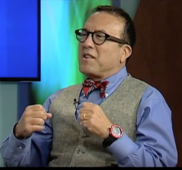 Russ Lopez during an interview on Boston Neighborhood Network News