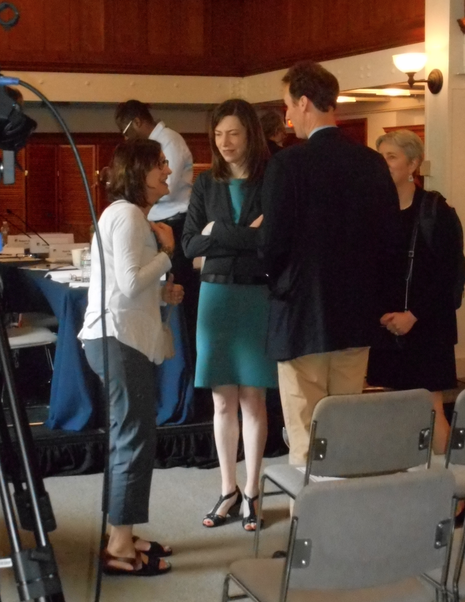 Jill Bourne after her public interview in a conversation with Search Chair John Palfrey, seen from the back