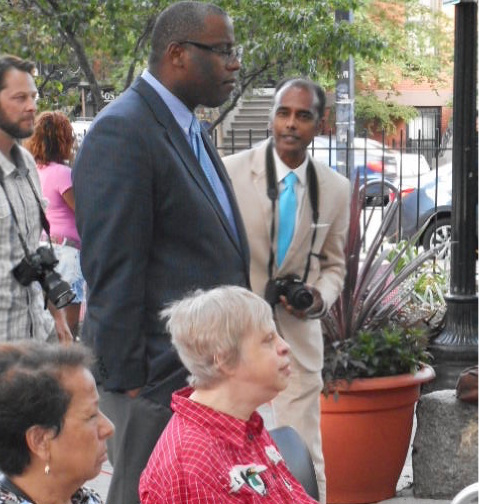 District Councilor Tito Jackson was among the audience of the jazz and blues concert in Library Park
