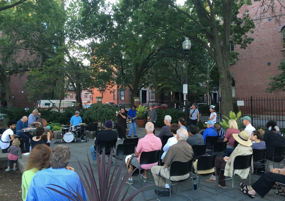 A happy crowd of South End jazz aficionados in Library Park. Courtesy, Lane Newman
