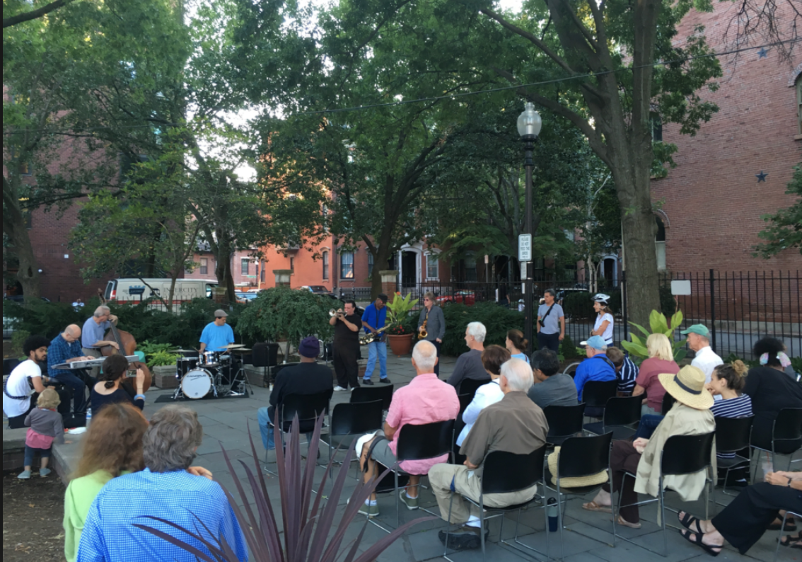 Library Park during one of the Pat Loomis Jazz and Blues concerts, Summer 2016