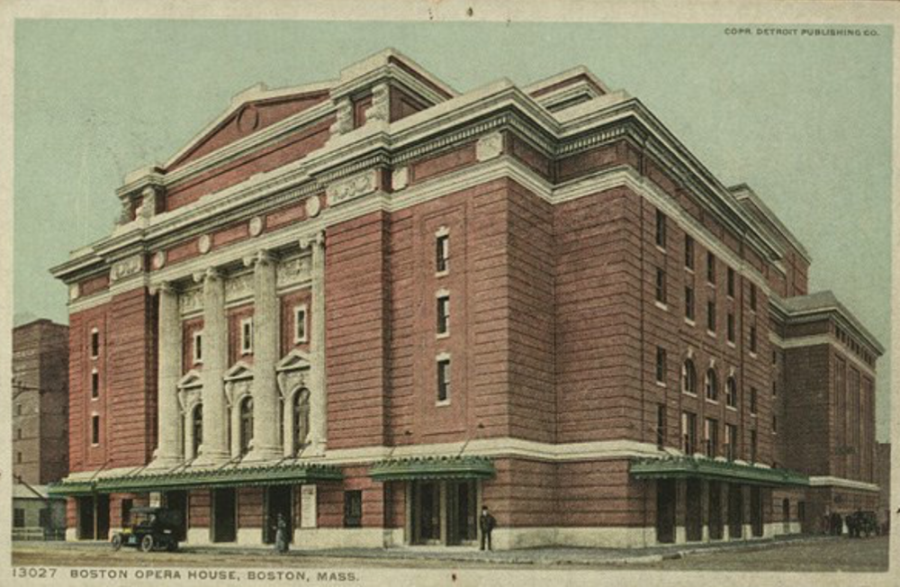 The Boston Opera House, built in the early 1900s, designed by Wheelwright and Haven, and demolished in 1958 to make room for Northeastern's dorms and facilities