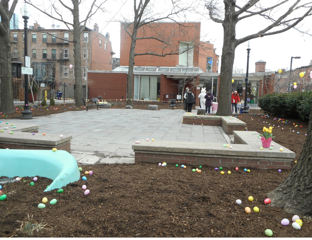 Library Park 2016 with Friends' volunteers preparing for the Annual Easter Egg Hunt