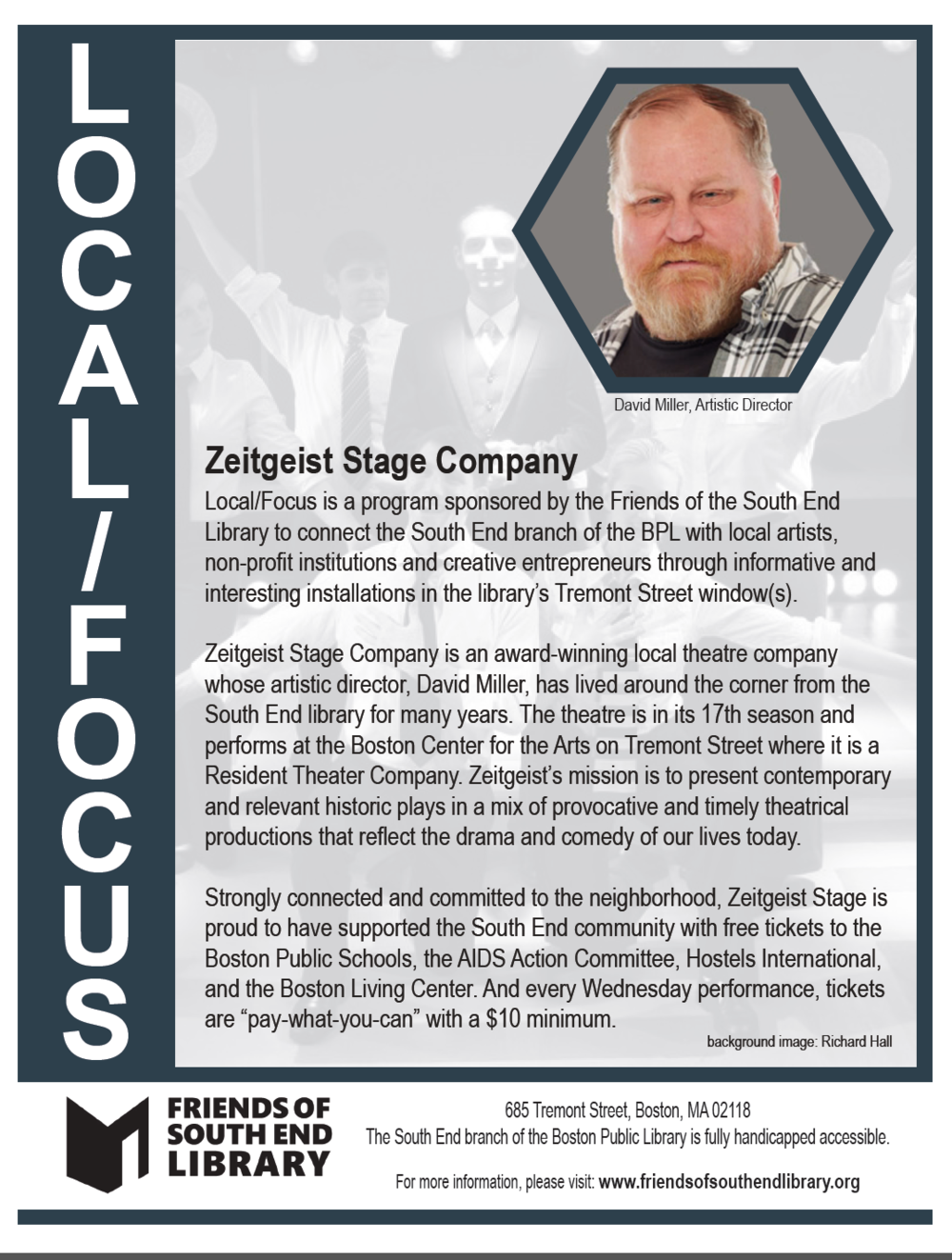 The January 2018 Local/Focus window by local theatre company,  Zeitgeist Stage