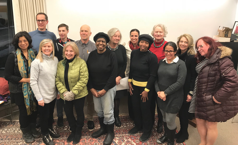 From left to right: board members Licia Sky, Don Haber, Maura Harrington, Michael Fox, Liane Crawford, Ed Hostetter, Jaqueline McGrath, Marleen Nienhuis, State Senator Sonia Chang-Diaz (not on the board), Kim Clark, Barbara Sommerfeld, Michelle Laboy and Marilyn Davillier and Chris Fagg( not a board member). Chris assists FOSEL in cleaning and raking Library Park.