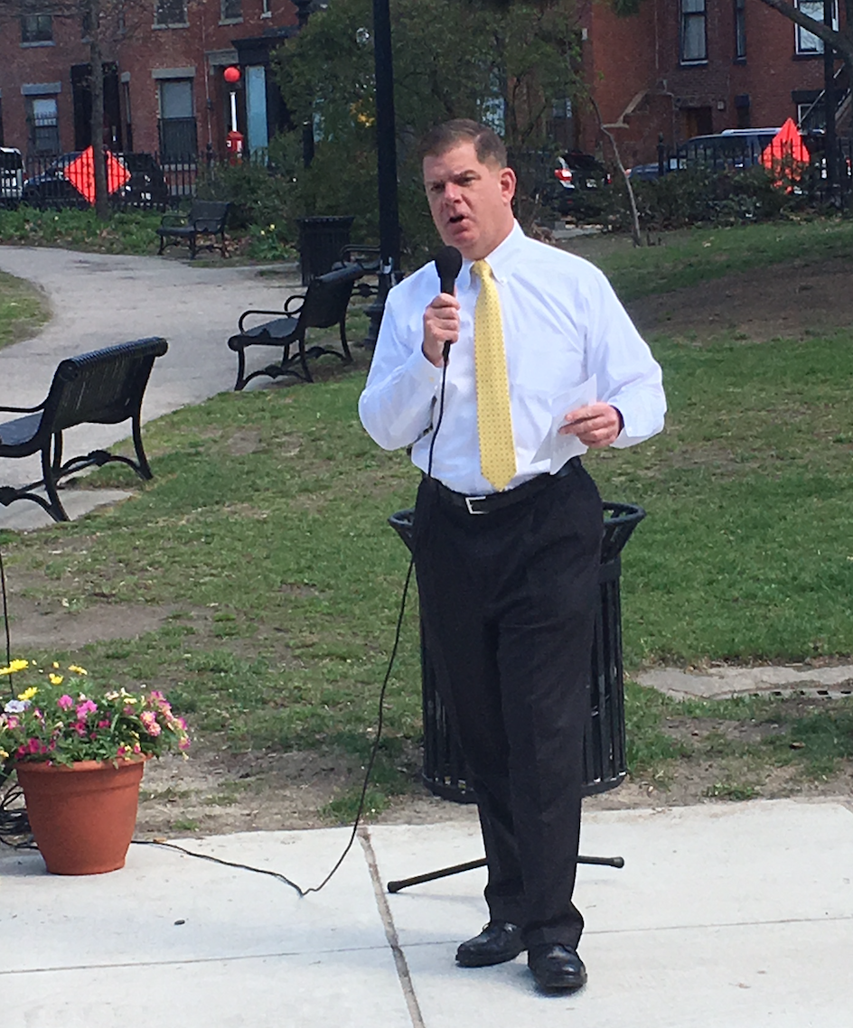 Mayor Marty Walsh speaking at a Coffee Hour in Titus Sparrow Park in early May about his commitment to South End's needs, including the renovations of Library Park and the South End Branch Library of the BPL