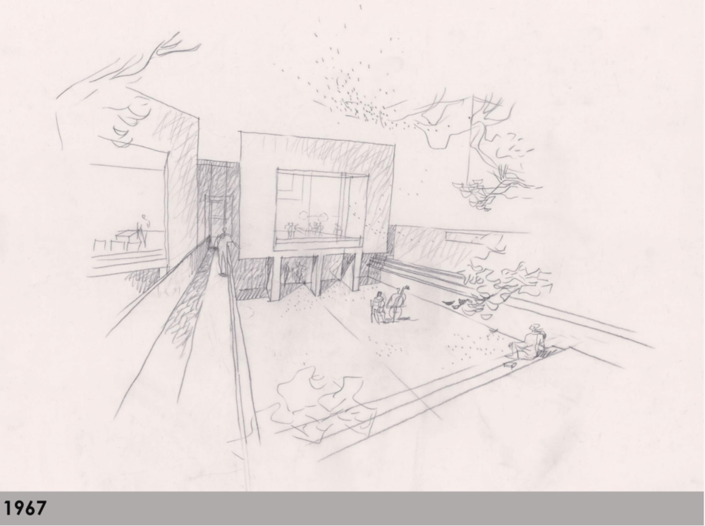 An early proposal by Romaldo Giurgola for a sunken courtyard next to the South End library, with a dug-out lower level