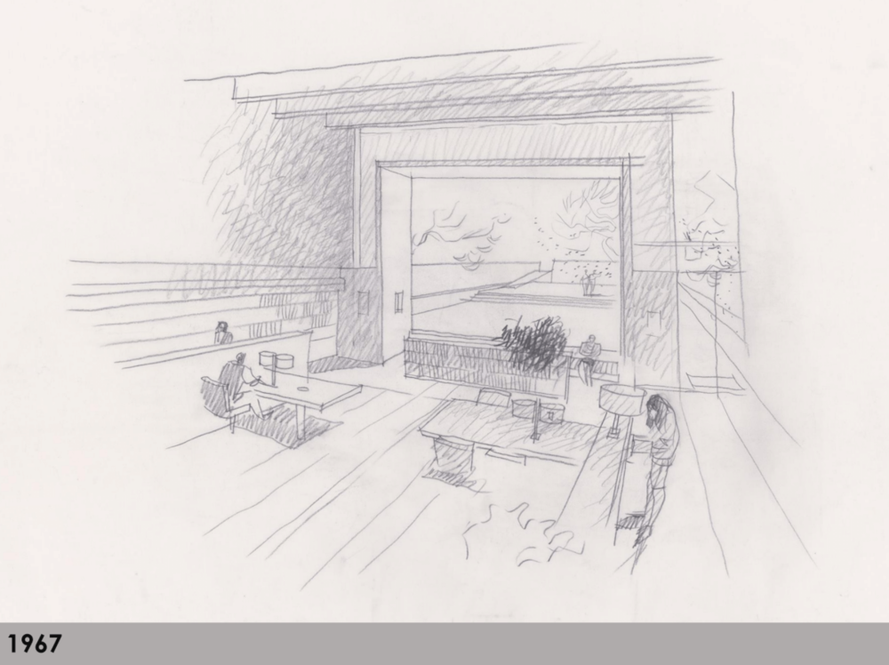 A view from the interior of the library onto a proposed sunken courtyard