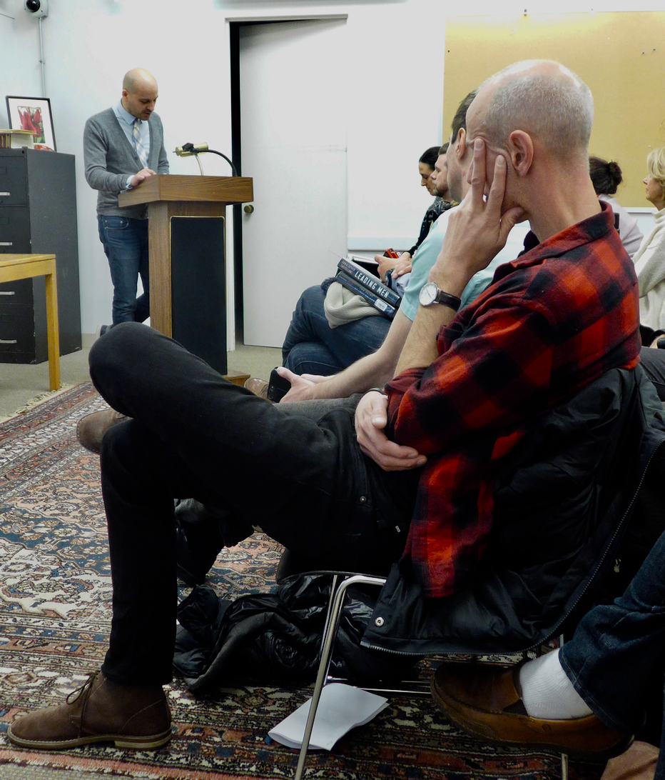 Chris Castellani reading from Leading Men to a full house, including the author who introduced him, Aaron Lecklider, who wrote  Inventing the Egghead: The Battle over Brainpower in American Culture.