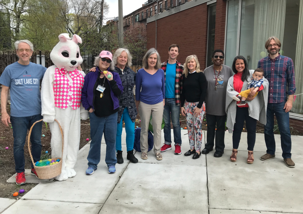FOSEL volunteers prepared Library Park for the Twelfth Annual Easter Egg Hunt. From left to right: Walter Newman, Easter Bunny Chris Fagg, branch librarian Anne Smart, Marleen Nienhuis, Gail Ide, Michael Cox, Maura Harrington, Jacqueline McRath, Michelle Laboy, Noah Fiedler, Josh Fiedler.