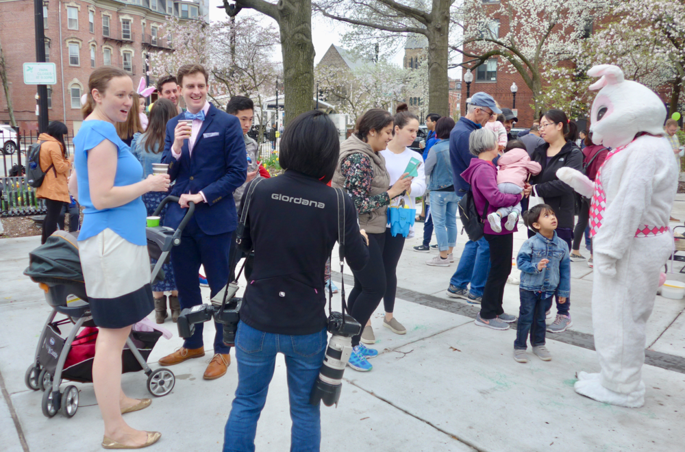 The Easter Bunny was at the center of attention of little kids and their parents