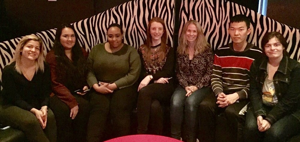 From left to right: Stephanie Jacovina, Breana King, Shawaza Majeed, Laura Friedman, Nadine Dehgan, Hai Zhou and Kelly Barahona