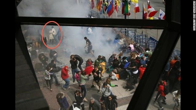 Lauren and Mark are circled in the above photo as they escaped from the Boston Marathon bombing.