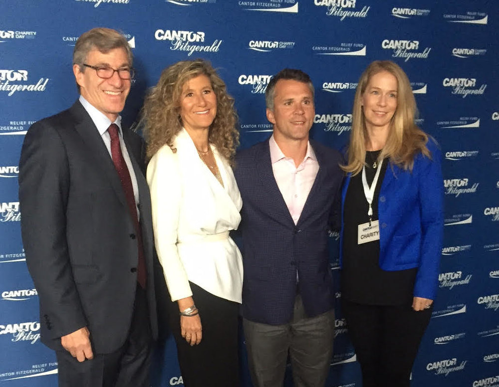 From left: HHF Board Vice Chair Paul Orlin, Cantor Fitzgerald Relief Fund President Edie Lutnick, Former Hockey Star Martin St. Louis, HHF CEO Nadine Dehgan