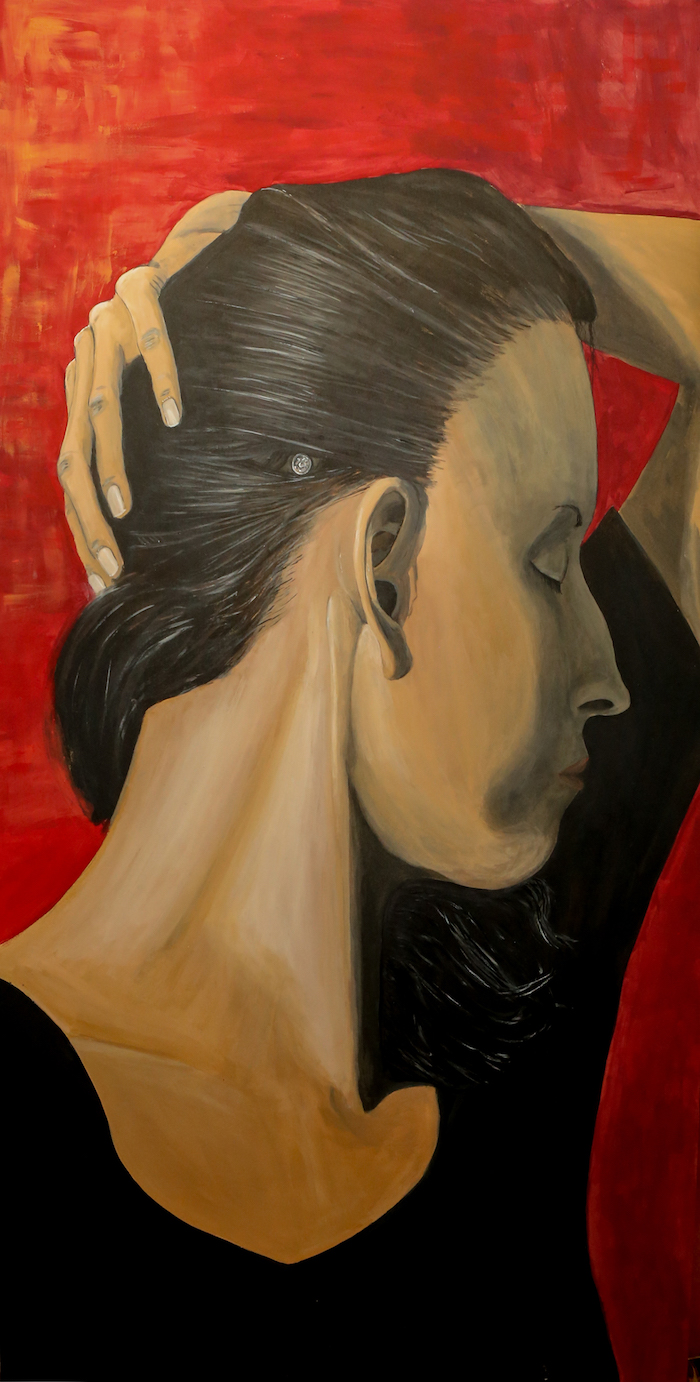Artist Priscila Soares' Abutment painting is a self-portrait that prominently shows the screw she has on her head that connects to her bone-anchored hearing aid (BAHA).