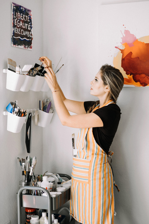 Nicolle painting in her studio. Credit: Lia Selfridge