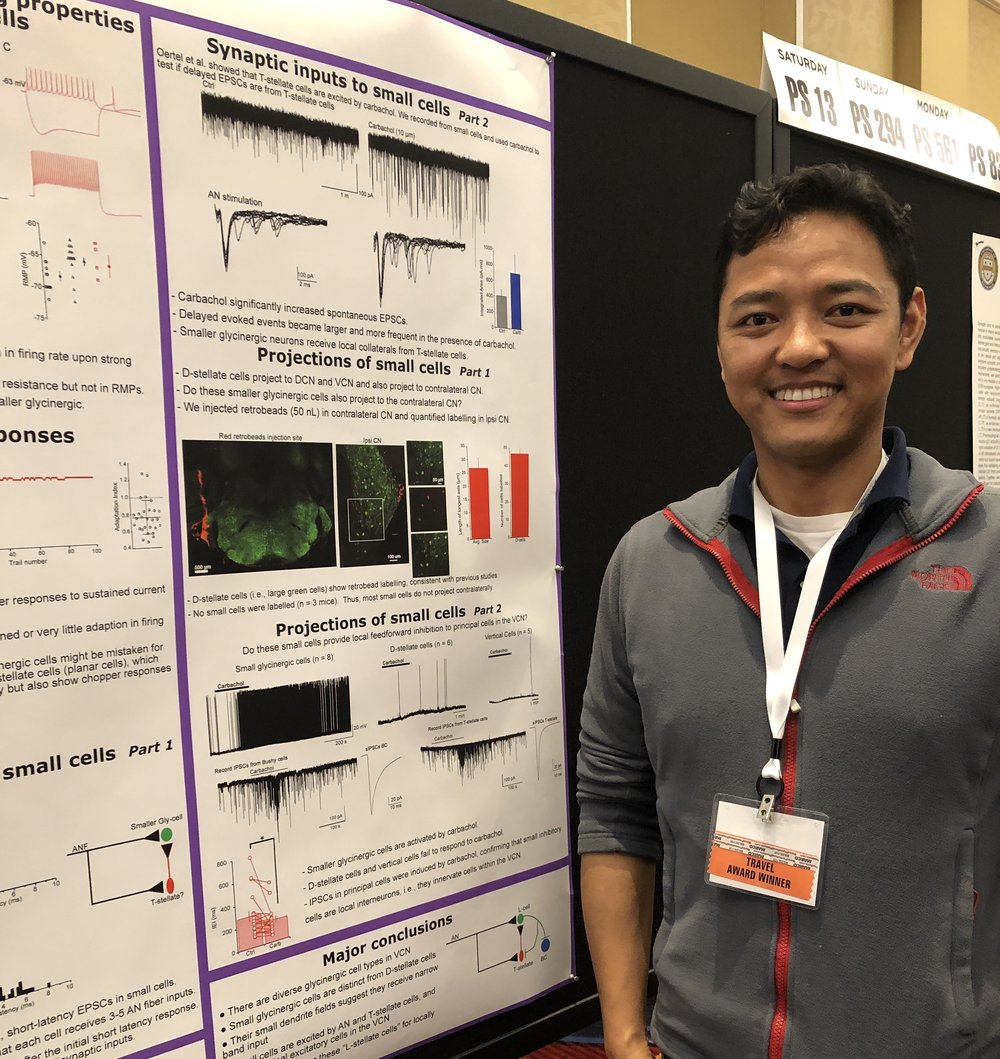 Tenzin Ngodup, Ph.D., represents his HHF-funded tinnitus project at ARO.